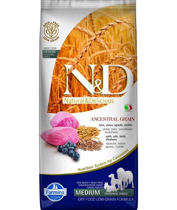 N&D LG Сухой корм для собак средних пород с ягненком и черникой 4020