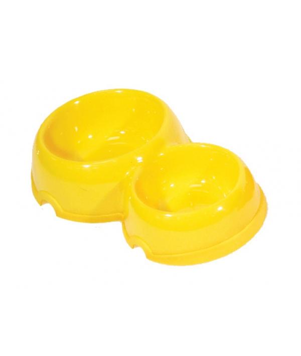 Двойная круглая миска для собак пластиковая, 200 и 350мл (2312)