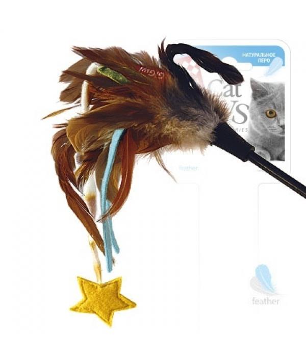 Игрушка для кошек Дразнилка со звёздочкой. Натуральные некрашеные перья (75245)50330
