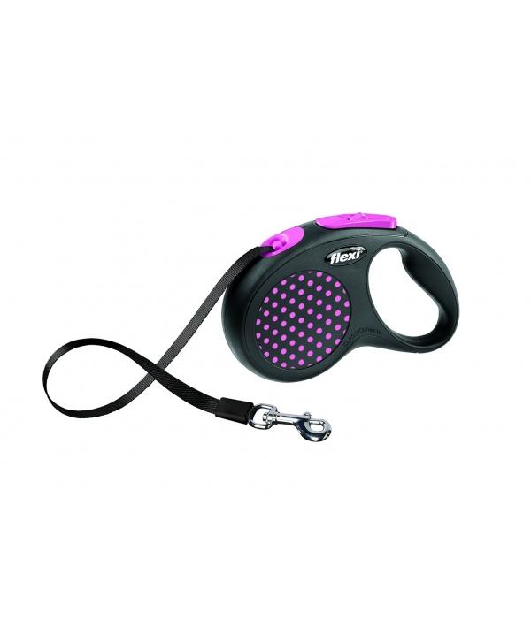 Рулетка – ремень для собак до 15кг, 5м, розовая (Design S Tape 5 m, pink)