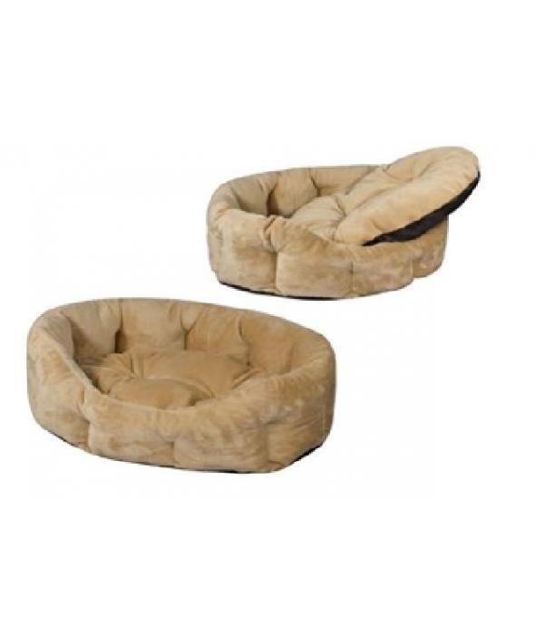 Лежак овальный пухлый 62*50*19 см с подушкой (9342)бежевый
