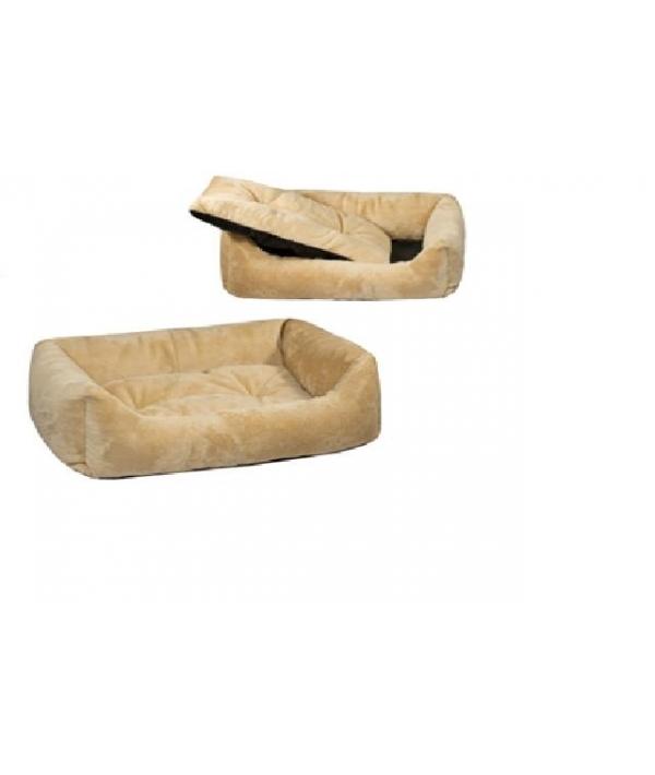 Лежак прямоуг.пухлый 103*75*27см с подушкой (9804) бежевый
