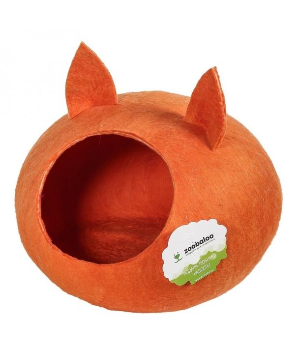 """Домик """"Уютное гнездышко"""" с ушками (шерсть, форма круг, оранжевый) L: 40x40x20см (965)"""
