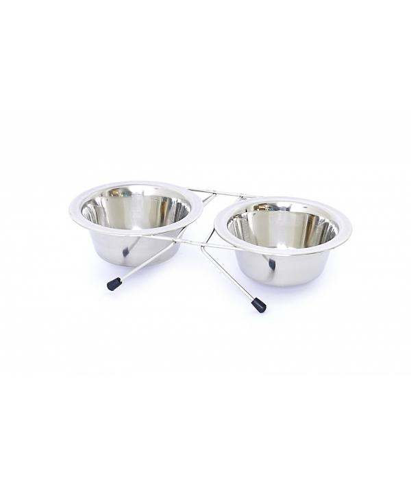 Миски для собак стальные 2 шт /13 см (Dog bowl stainless steel dubble 2 x 13 cm) 5425