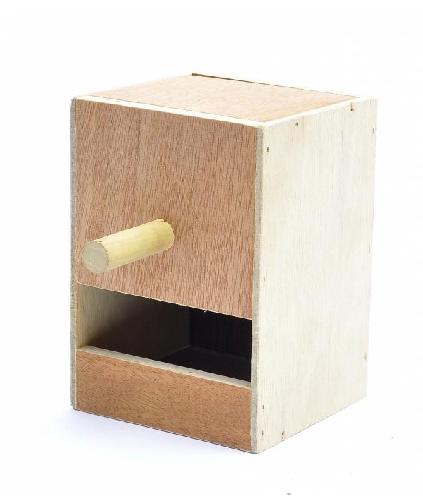 Деревянное гнездо для волнистых попугайчиков 12.5*12*17 см (Wooden nest for budgies 12.5x12x17 cm) 14508