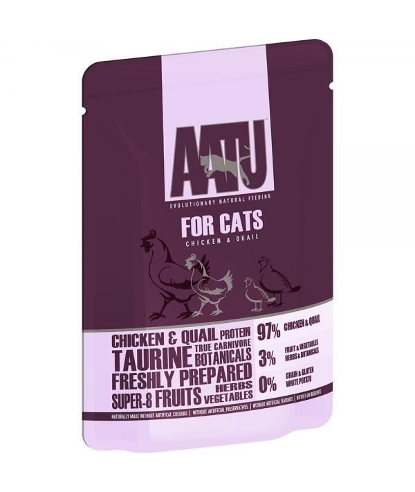 Паучи для кошек Курица и Перепел (AATU FOR CATS CHICKEN & QUAIL) WACCQ85