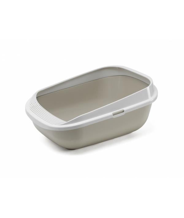 Туалет для кошек с рамкой с высокими бортами 57.4 x 42.7 x 25.5 см, теплый серый (Comfy Step – Warm Gray – P5) MOD – C289 – 0330 – 0041