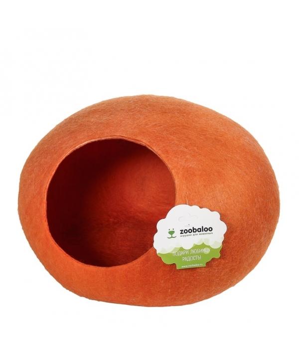 """Домик """"Уютное гнездышко"""" (шерсть, форма круг, оранжевый) L: 40x40x20см (966)"""