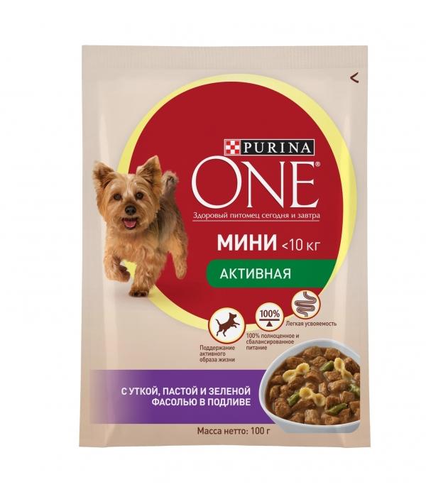 """Паучи для взрослых собак малых пород с уткой, пастой и зеленой фасолью в подливе """"Непоседа"""" (One My Dogis Active) 12324158/12351851/12324158"""