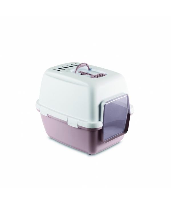 Туалет – домик Cathy Comfort с уголным фильтром и совочком, пудровый, 58х45х48см (TOILETTE CATHY COMFORT CIPRIA/BIANCO) 97956