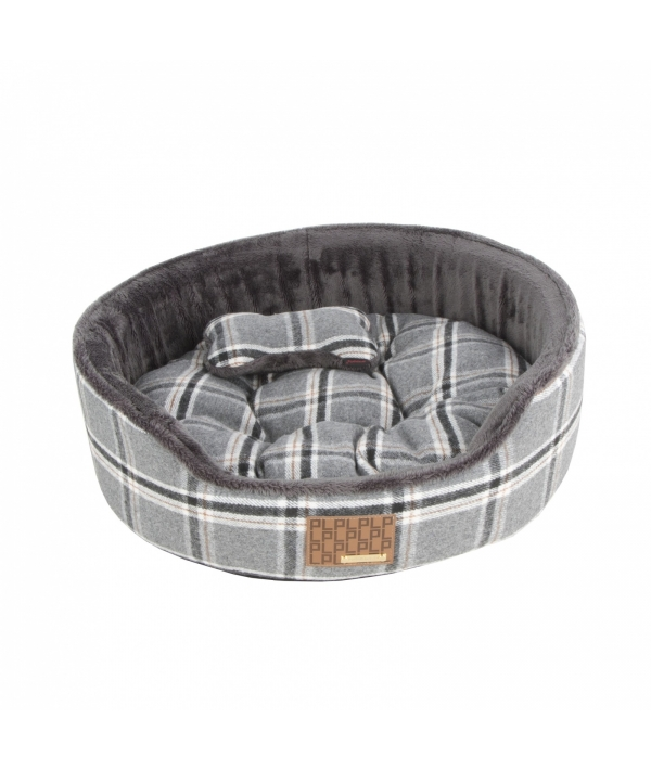 """Кровать – лежанка в клетку со сменной подушкой """"Кэмп""""+ игрушка – косточка, серый (47x47x17) (KEMP BED/MELANGE GREY/FR) PAQD – AU1466 – MG – FR"""