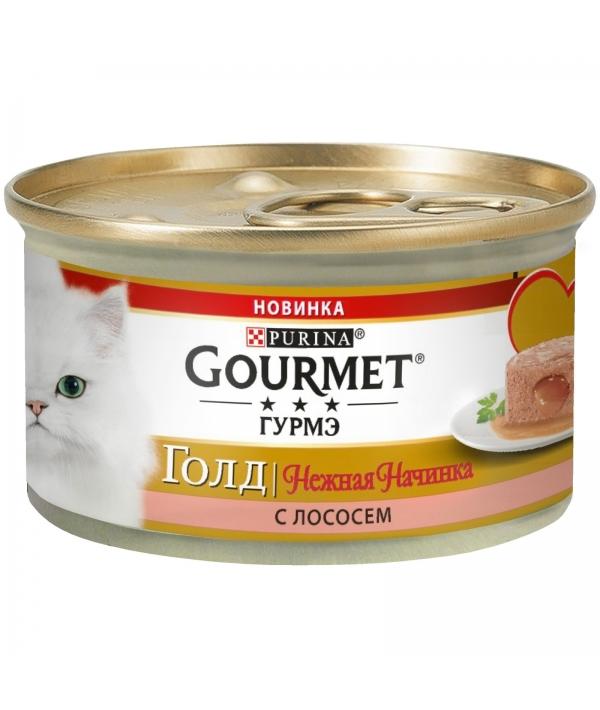 Консервы для кошек нежная начинка Gourmet Gold Лосось (Melting Heart ) 12348472