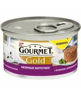Консервы паштет для кошек Gourmet Gold нежные биточки с ягненком и фасолью, 12296407