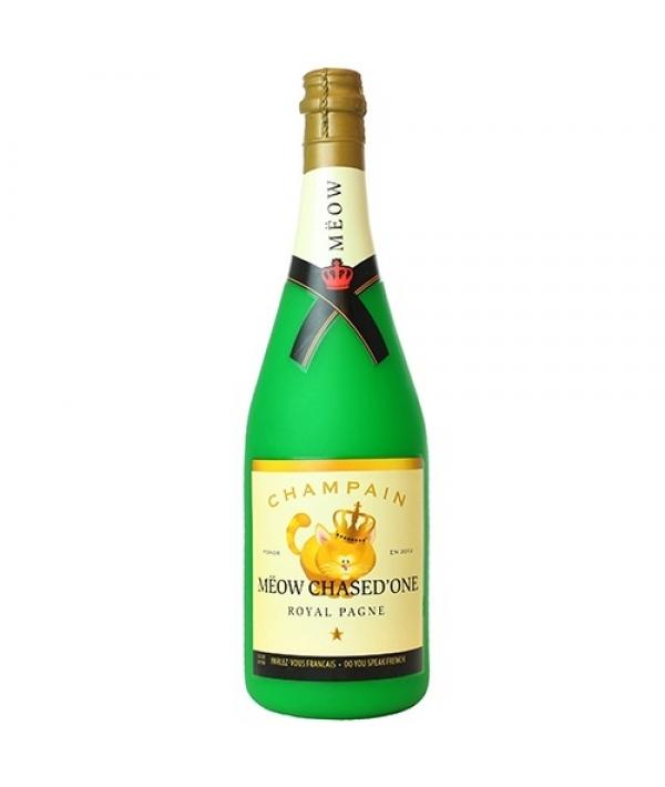 """Виниловая игрушка – пищалка для собак Бутылка шампанского """"Мяот и Пушон"""", большая (Wine Bottle Meow Chased Large) SS – WB – MC – L"""