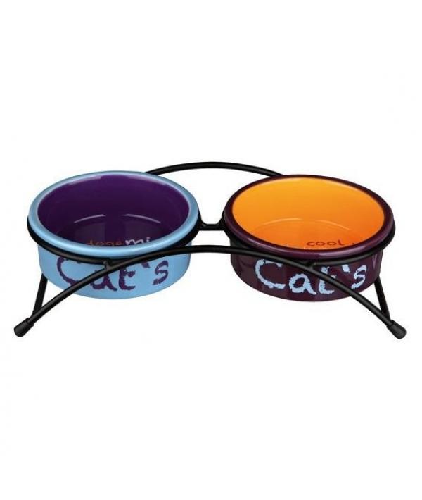 Миски керамические на подставке, 2х0,3л, 12 см (голубой,оранжевый,фиолетовый)