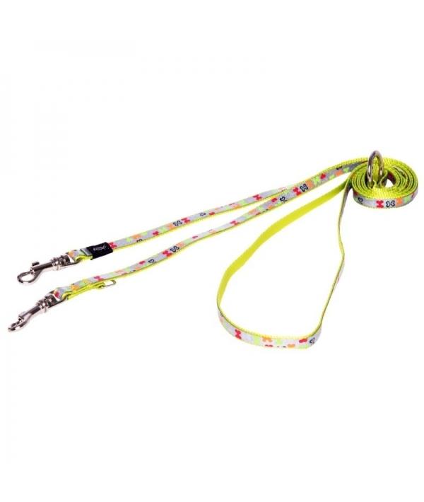 """Поводок – перестежка для собак малых пород, размер M, ширина 16мм, длина 1,1 – 1,4 – 1,8м, """"Разноцветные косточки"""" (MULTI PURPOSE LEAD 16MM) HLM523L"""