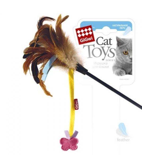 Игрушка для кошек Дразнилка с бабочкой. Натуральные некрашеные перья (75246)50331