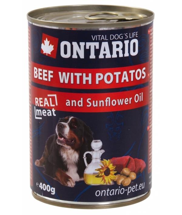 Консервы для собак: говядина и картофель (ONTARIO konzerva Beef,Potatos,Sunflower Oil 400g) 214 – 2102