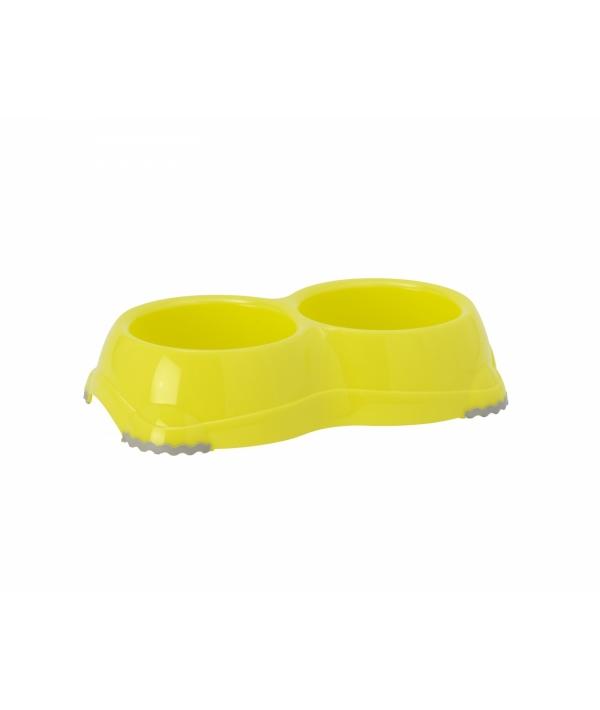 Двойная миска нескользящая Smarty, 2*330мл, лимонно – желтый (double smarty bowl 1 – non slip 2 x 330 ml) MOD – H106 – 329.