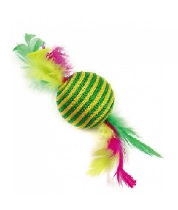 """Игрушка """"Шар – зебра с перьями"""" для кошек 5,5см, сезаль, перо (5613155)"""