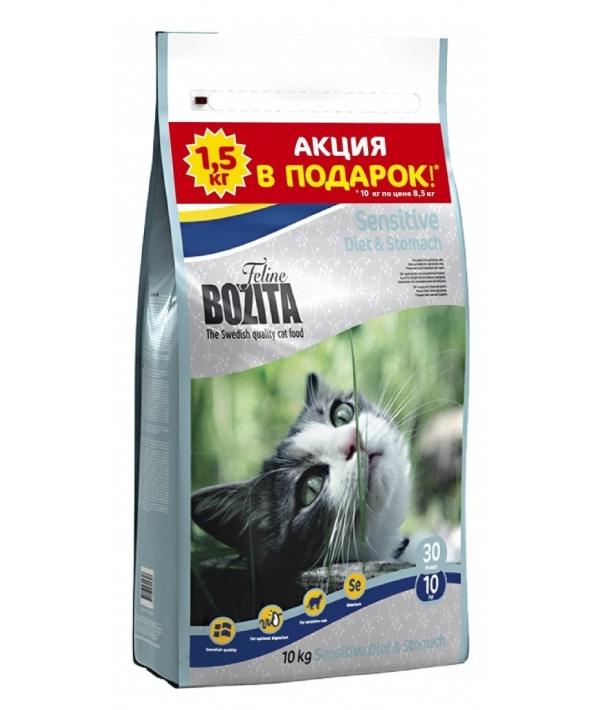 Для чувств. кошек с курицей, лосем, овсом и рисом (Sensitive Diet&Stomach 30/10)