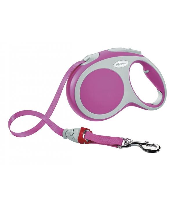 Рулетка – ремень для собак до 15кг, 5м, розовая (Vario S tape 5m pink)