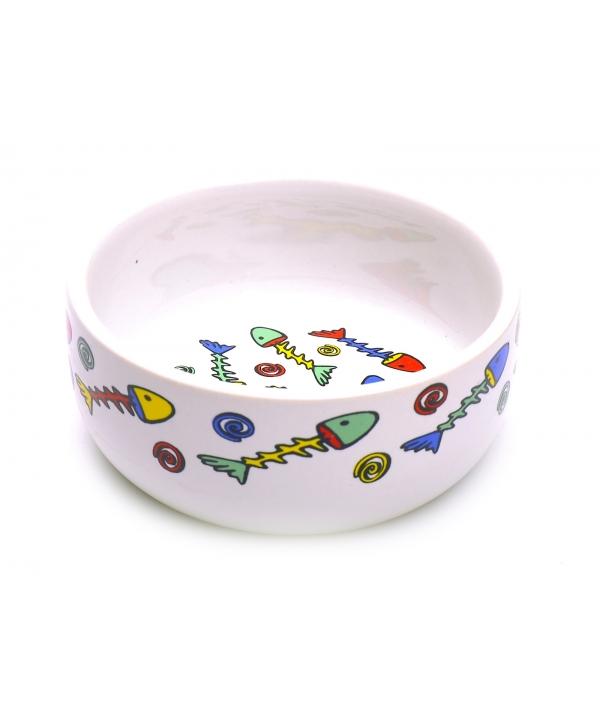Миска для кошек фарфоровая с цветными рыбками 325мл*11см (651052)16612