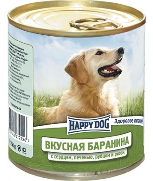 Консервы для собак с бараниной, сердцем, печенью, рубцом и рисом