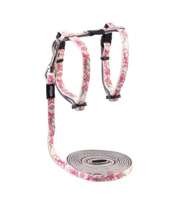 "Набор шлейка (24 – 40см) + поводок (длина 1,8м) для кошек GlowCat ""Розовые бабочки"" (GLOWCAT HAR&LD SET PINK) CLJ09K"