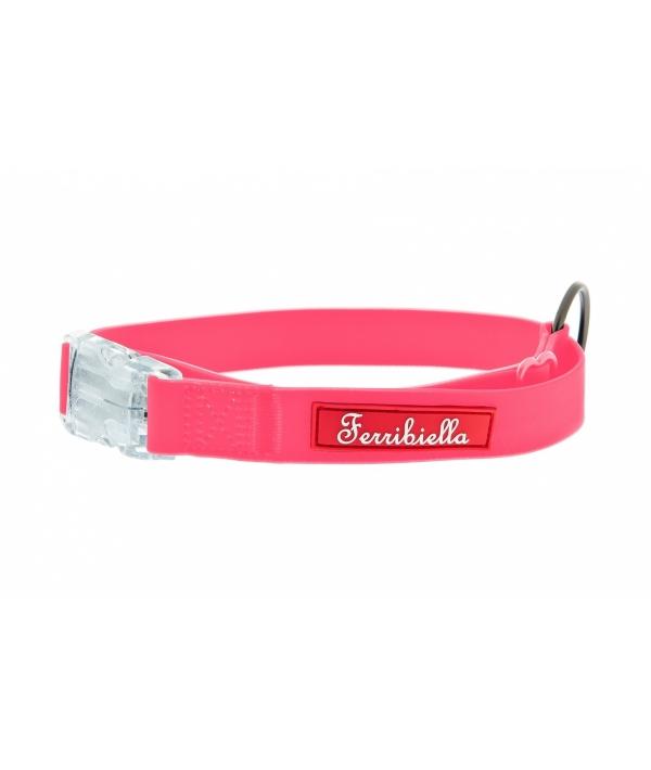 Cветящийся тонкий силиконовый ошейник, розовый 2X30 – 50 см (COLLARE FUN FLAT 2X30 – 50CM ROSA) HI726 – RA