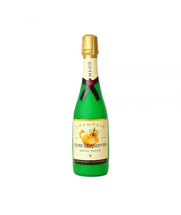 "Виниловая игрушка – пищалка для собак Бутылка шампанского ""Мяот и Пушон"" (Wine Bottle Meow Chased ) SS – WB – MC"