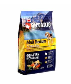 Для собак с 7 видами рыбы и рисом (Ontario Adult Medium 7 Fish & Rice 2,25kg) 214 – 10675