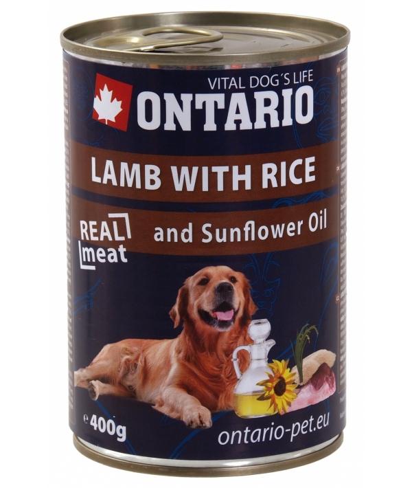 Консервы для собак: ягненок и рис (ONTARIO konzerva Lamb,Rice,Sunflower Oil 400g) 214 – 2162