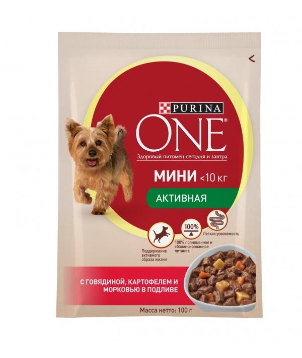 """Паучи для взрослых собак малых пород с говядиной, картофелем и морковью в подливе """"Непоседа"""" (One My Dogis Active) 12324371/12351749"""