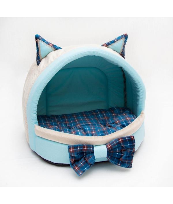 Домик – лежанка «Мята» с бантиком и съемной подушкой для кошек 41*32*30 РП