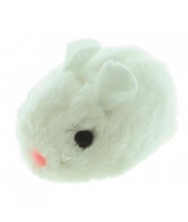 """Виброигрушка """"Плюшевая мышь"""" белого цвета для кошек, 8см, плюш (5605089)"""