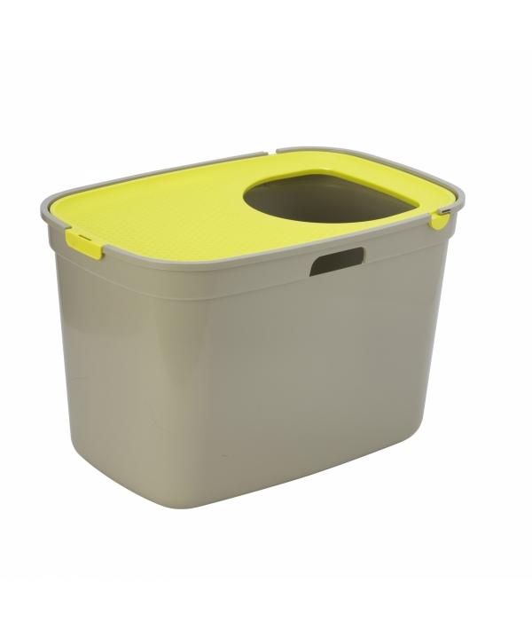Закрытый туалет для кошек Top cat, серый с лимонно – желтым 59 x 39 x 38 см (Warm Gray with Lemon lid) MOD – AG50 – 0330 – 0000