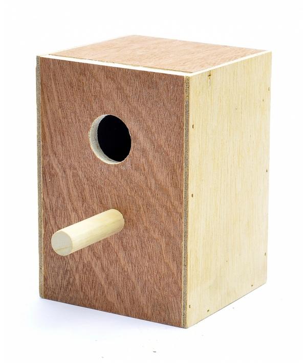 Деревянное гнездо для экзотических птиц 11*10.5*16 см (Wooden nest for exotic birds 11x10.5x16 cm) 14569