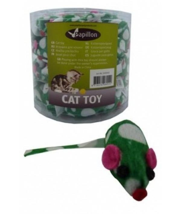 "Игрушка для кошек ""Зеленая Мышка с погремушкой"", плюш, 4,5см (Mouse green/white with rattle) 240042"