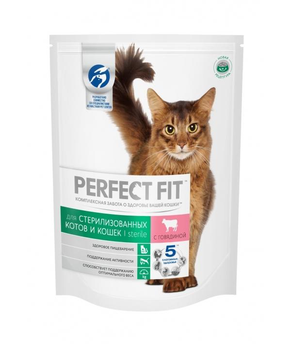 Сухой корм стерилизованных кошек, с говядиной (PERFECT FIT Sterile Beef 10*650g) 10162220