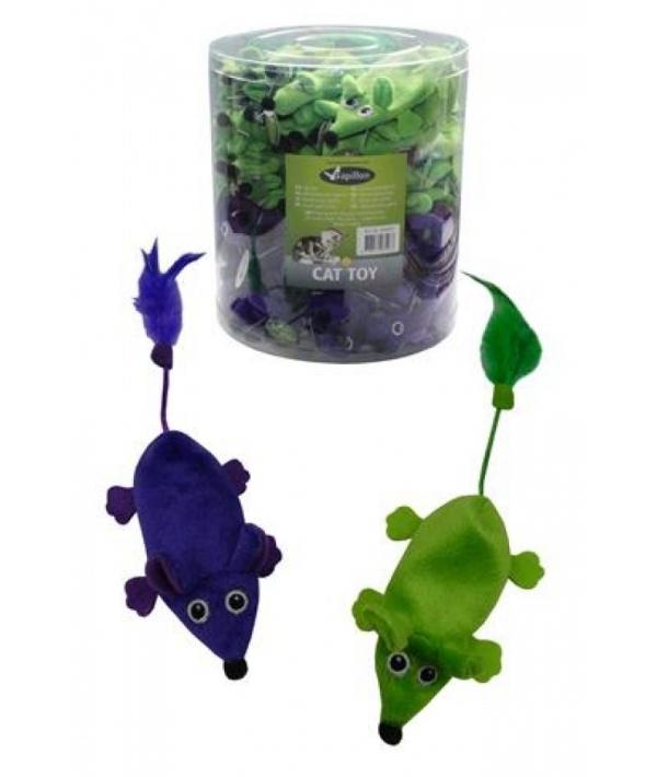 """Игрушка для кошек """"Плюшевые мышки, зеленые и фиолетовые"""" 60х11см (Plush green + violet mice 11 cm unstuffed tube 60 pcs) 240057"""