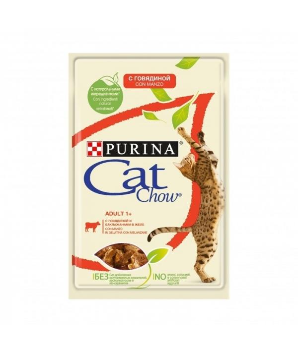 Паучи для кошек Кусочки в желе с говядиной и баклажанами 12349677
