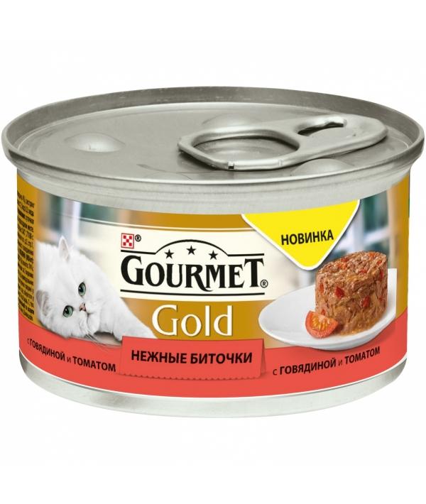 Консервы паштет для кошек Gourmet Gold нежные биточки с говядиной и томатом, 12296420
