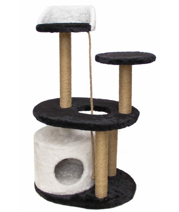 Домик – когтеточка Метро, черно – белый, 125*55*55, джут РП