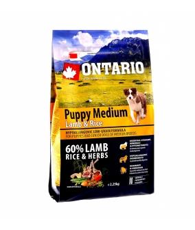 Для щенков с ягненком и рисом (Ontario Puppy Medium Lamb & Rice 2,25kg) 214 – 10295