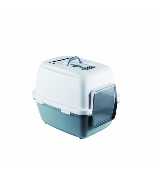 Туалет – домик Cathy Comfort с уголным фильтром и совочком, синий, 58х45х48см (TOILETTE CATHY COMFORT BLU ACCIAIO/BIANCO) 97957