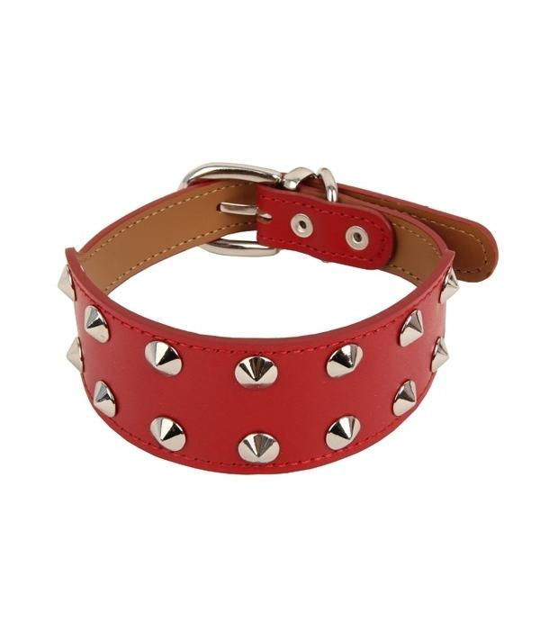 Кожаный ошейник с металлическими клепками, красный, размер L (длина 30 – 34 см, ширина 2 см) (MAX/RED/L) PAMA – AC990 – RD – L