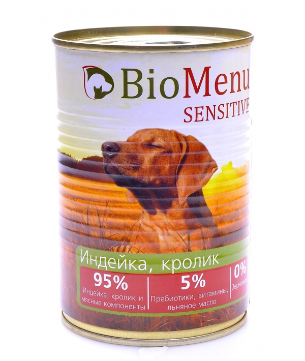 Гипоаллергенные консервы для собак Индейка и Кролик (74046/47535)