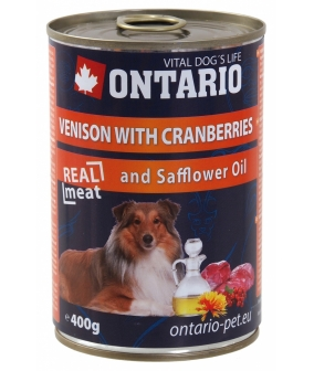 Консервы для собак: оленина и клюква (ONTARIO konz.Venison,Cranberries,Safflower Oil 800g) 214 – 2194