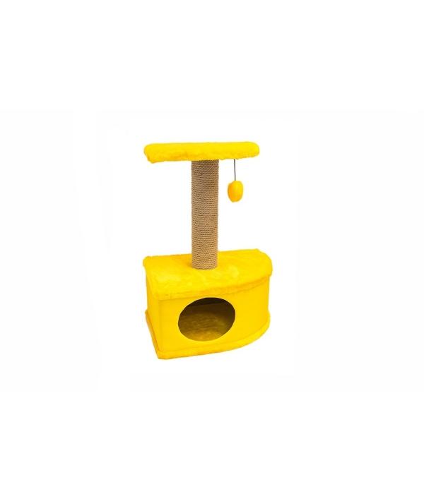 Домик – когтеточка угловой Конфетти желтый 49*37*70